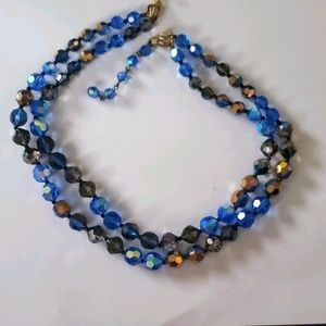 Marvella Blue Silver Gold Glass Beaded Necklace